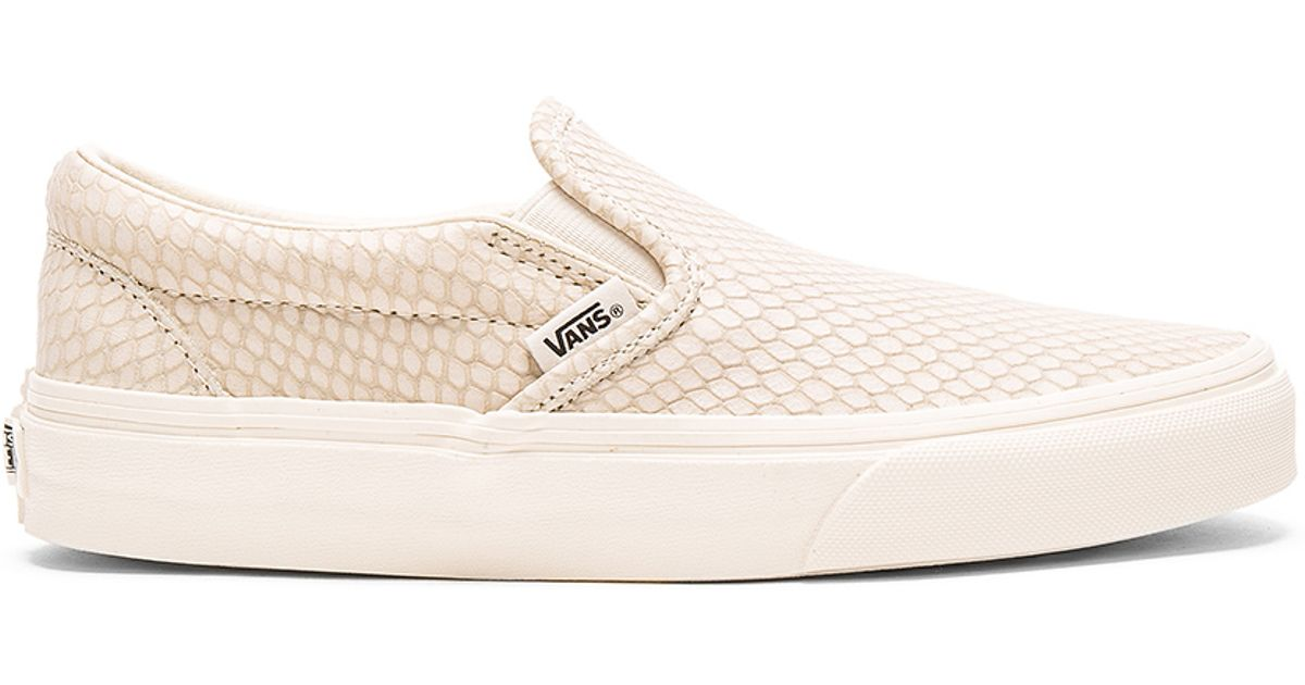 4b84614fc5 Lyst - Vans Snake Leather Classic Slip-on + in Natural
