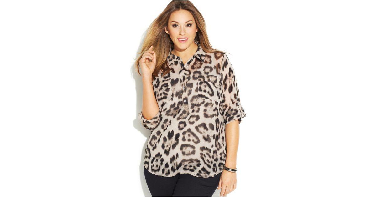 a1c42b816298 INC International Concepts Plus Size Animal-Print Shirt - Lyst