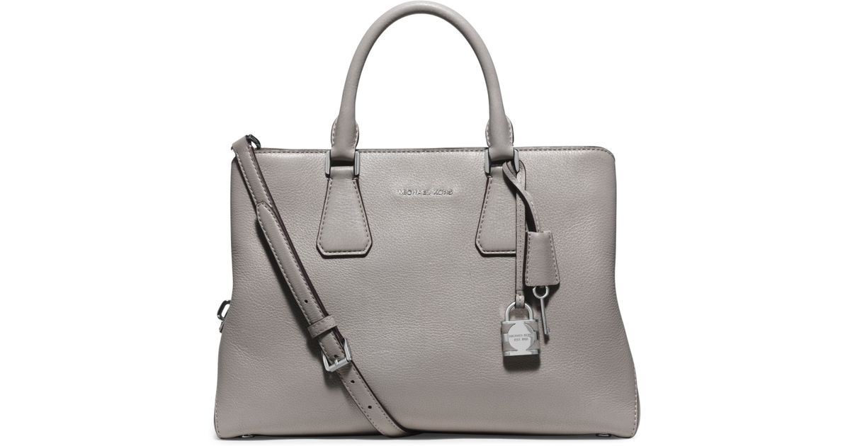 71a26098fbbc Lyst - Michael Kors Camille Large Leather Satchel in Gray