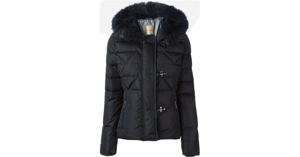 In Hood Trimmed Lyst Jacket Fur Fay Padded Black UU6YRx
