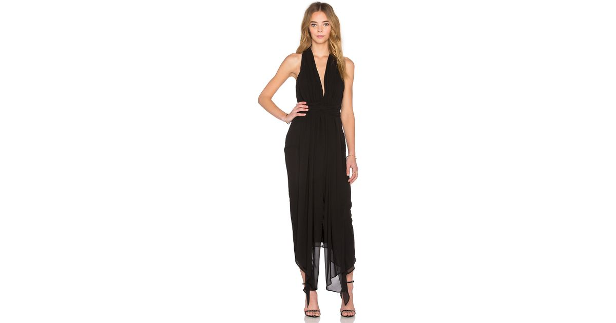 8b9666560fe Lyst - Shona Joy Voltaire Backless Draped Midi Dress in Black
