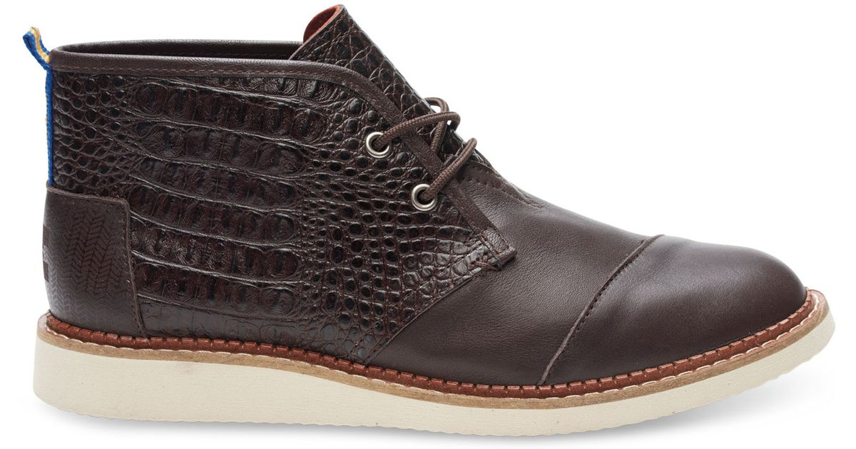 9792ebd5f25 TOMS Dark Brown Croc Embossed Leather Men's Mateo Chukka Boots for men