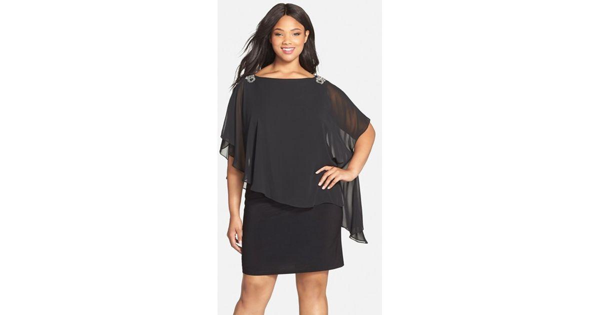 Xscape Embellished Chiffon Overlay Jersey Dress In Black