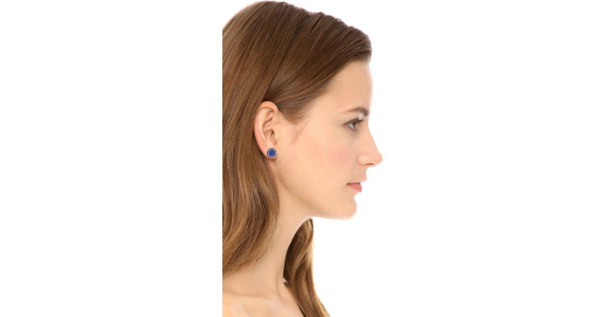 Lyst Marc By Jacobs Enamel Logo Disc Stud Earrings Shire In Blue