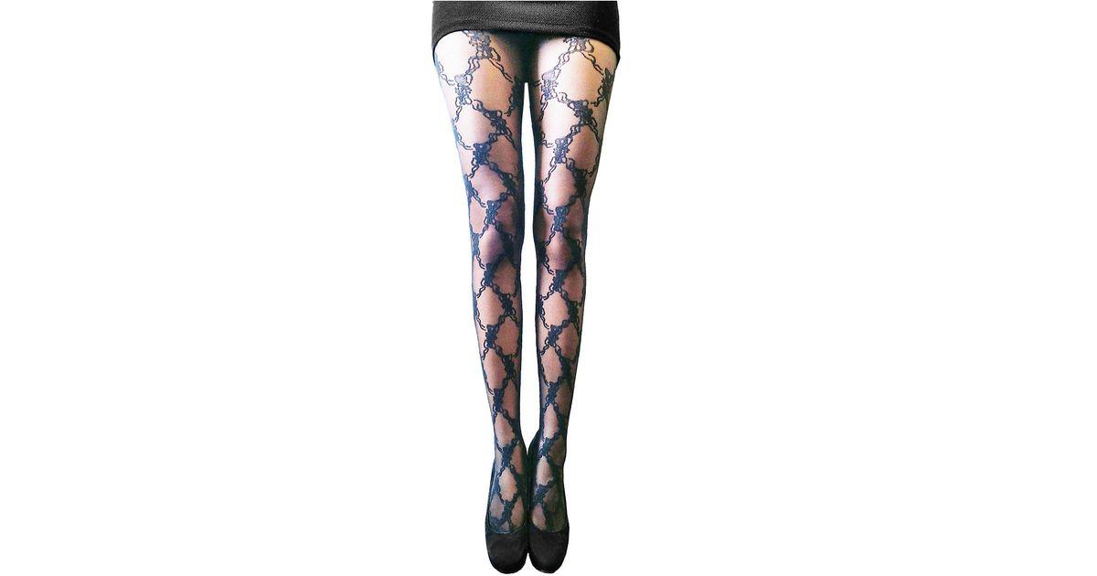 605a2b90cffac Zac Zac Posen Lace Vine Fashion Tights in Black - Lyst