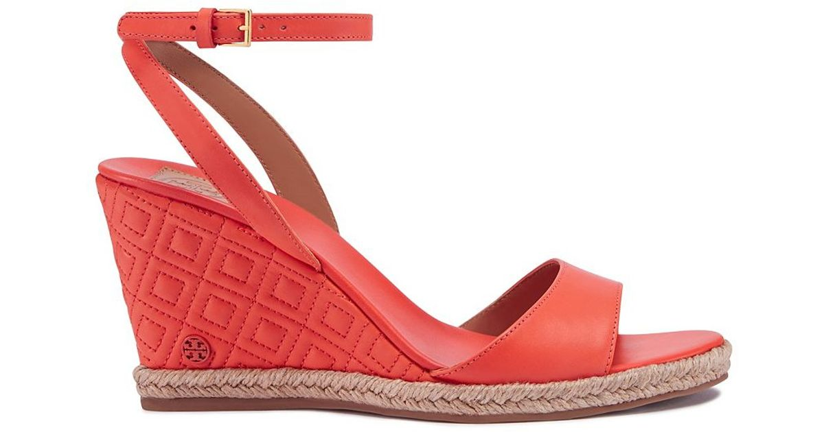 33b76fc99 Lyst Tory Burch Marion Quilted Espadrille Wedge Sandal In Red