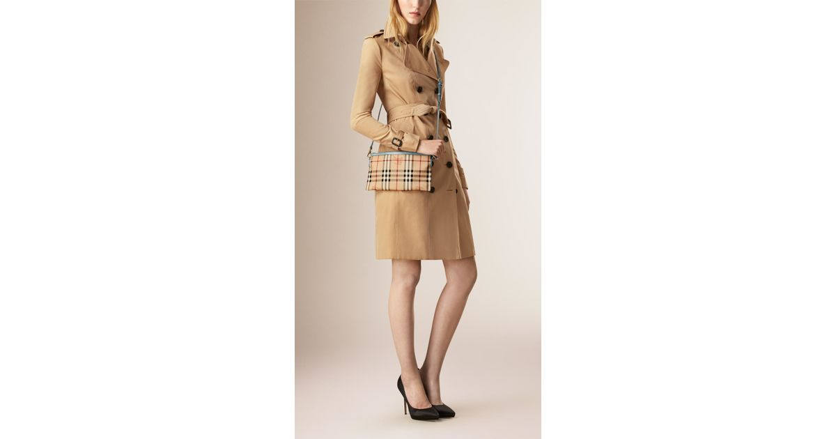 116c95bfc349 Burberry Haymarket Check Clutch Bag in Natural - Lyst