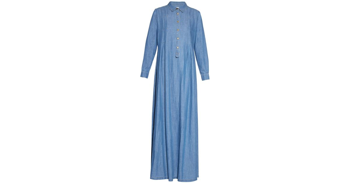 Lyst - The Great The Shirt Gown Denim Maxi Dress in Blue