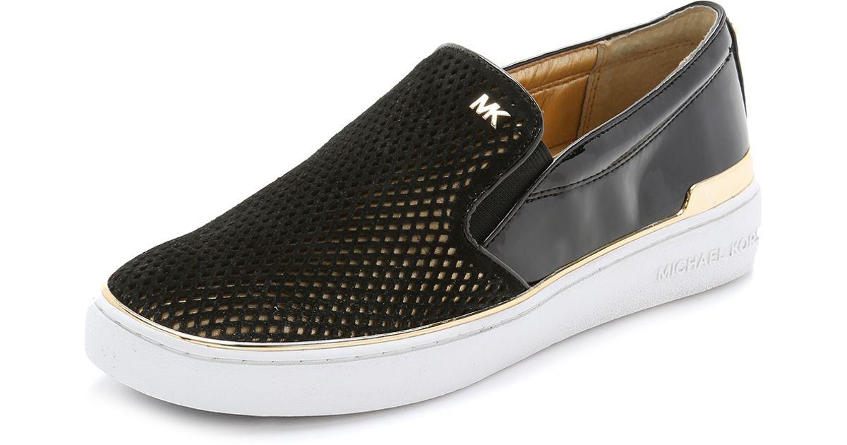 16c4c1d746148 Lyst - MICHAEL Michael Kors Phoebe Slip On Sneakers - Black gold in Black