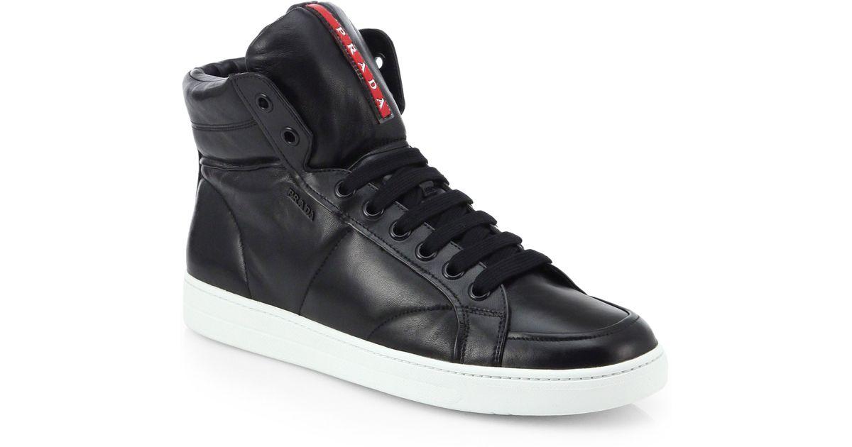 Prada Leather High-top Sneakers in