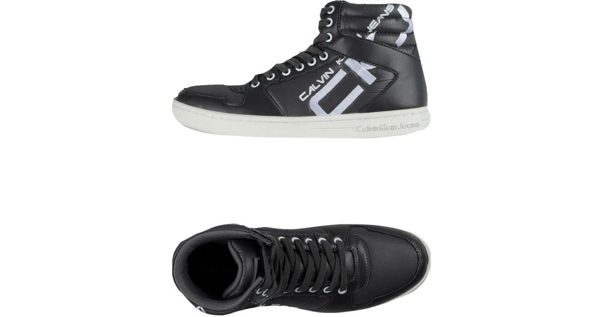 calvin klein jeans high tops trainers in gray for men lyst. Black Bedroom Furniture Sets. Home Design Ideas