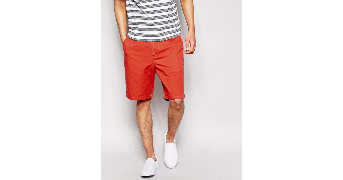 Quiksilver Chino Shorts Regular Fit in Red for Men | Lyst