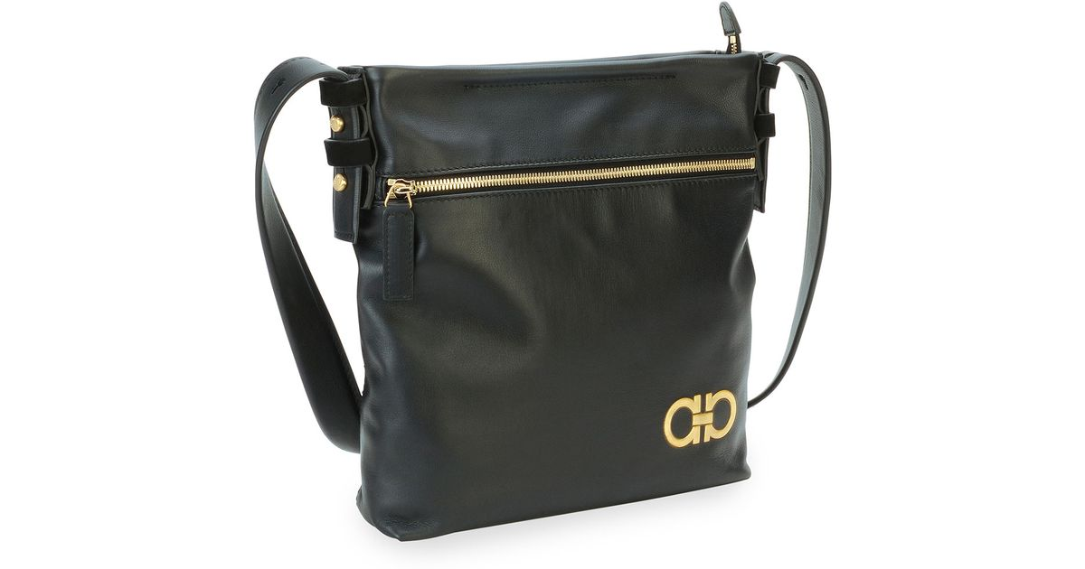 468cd51f74 Lyst - Ferragamo Men S Nevada Leather Crossbody Bag in Black