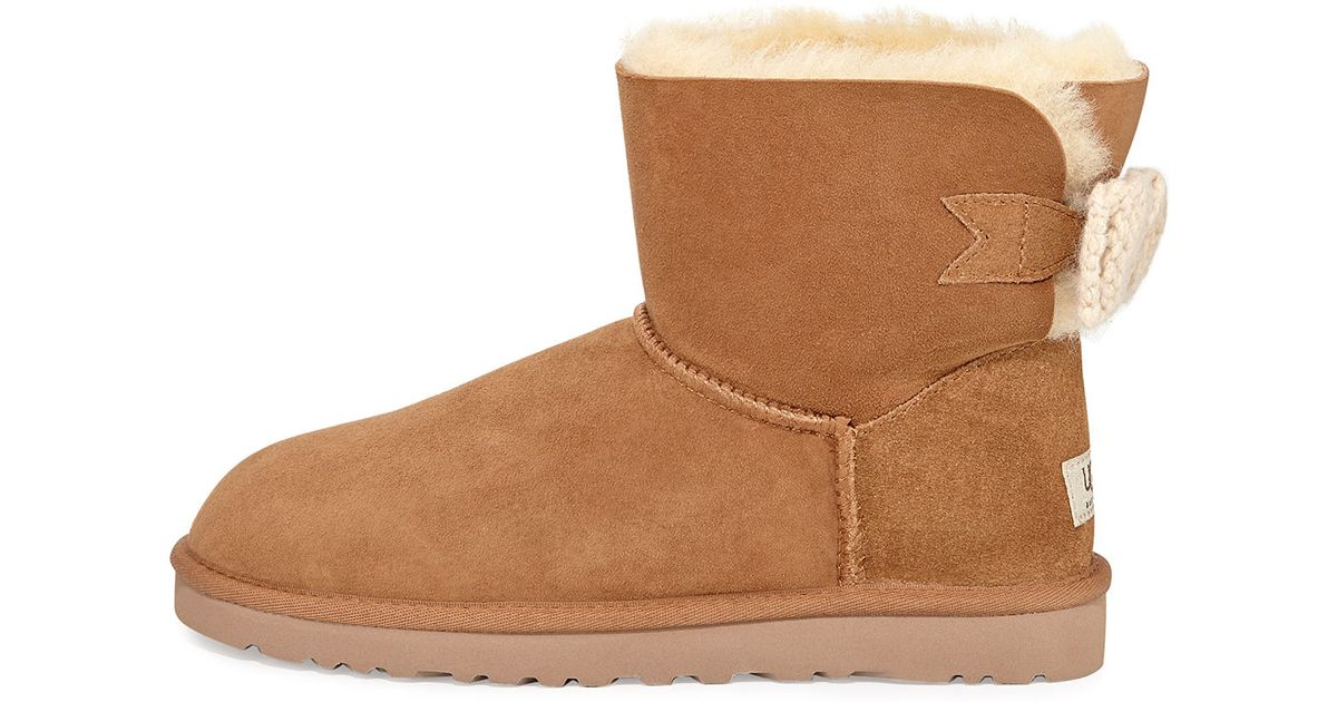 UGG Mini Bailey Knit-bow Boot in Brown