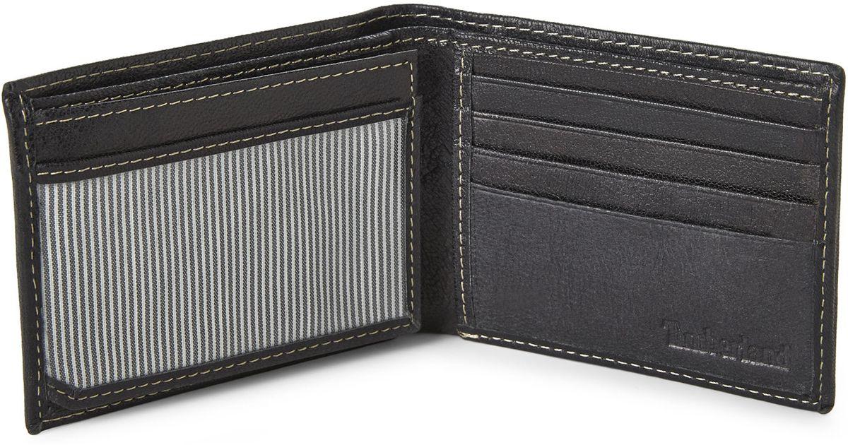 Timberland Men/'s Hudson Commuter Genuine Leather Credit Card Bifold Wallet Black