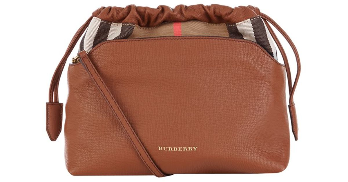 Burberry The Little Crush In Leather And House Check in Brown - Lyst bf88cc49e6