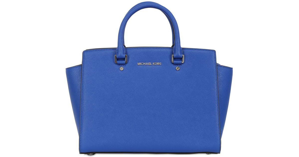 91570ddeda MICHAEL Michael Kors Large Selma Saffiano Leather Bag in Blue - Lyst