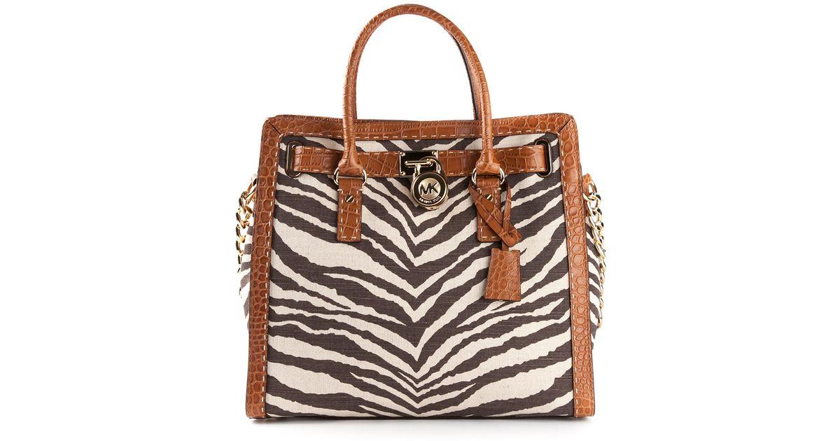 17ffa052578a25 MICHAEL Michael Kors Hamilton Zebra Print Shoulder Bag in Brown - Lyst