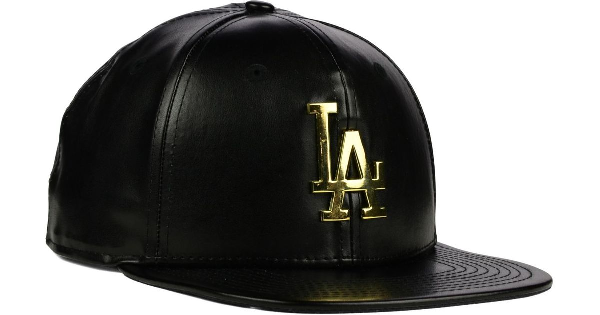 76f48db0181ee6 ... where to buy lyst ktz los angeles dodgers faux leather 9fifty strapback  cap in black for