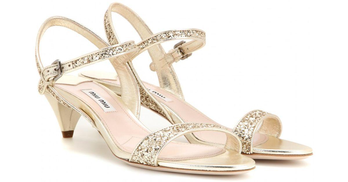 Miu miu Glitter Embellished Kitten-Heel Sandals in Brown | Lyst