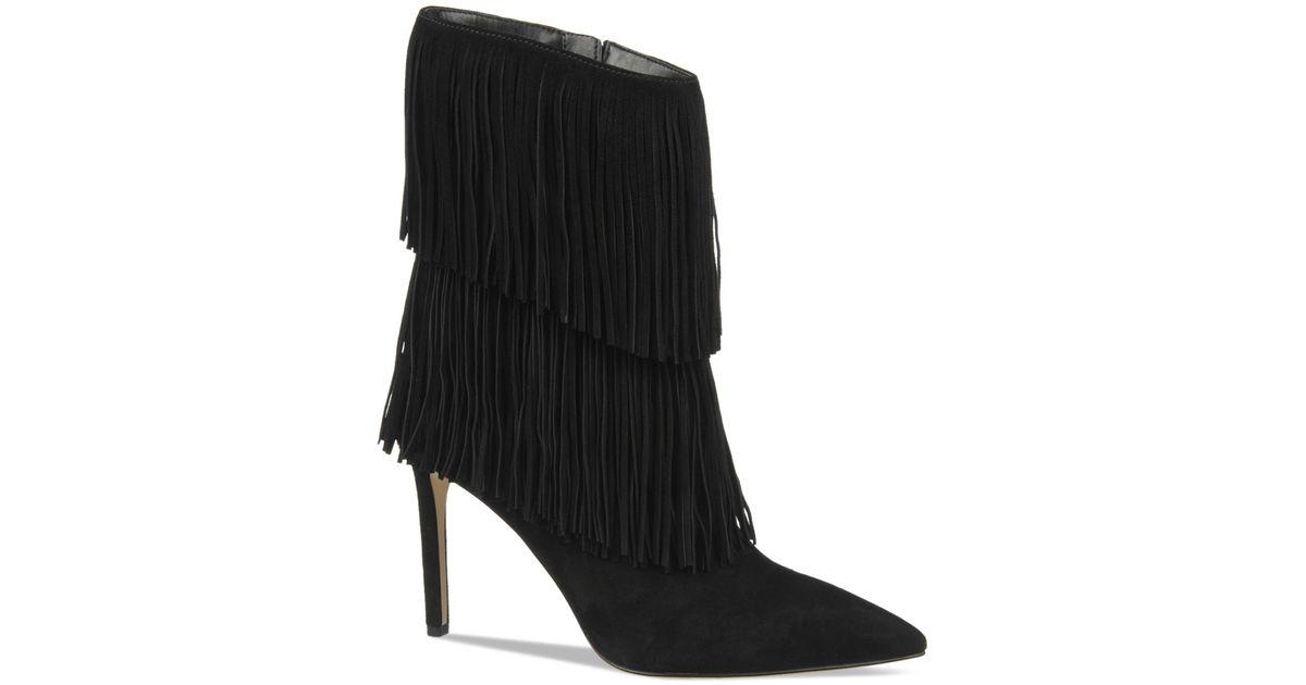 Lyst Sam Edelman Belinda Fringe High Heel Boots In Black