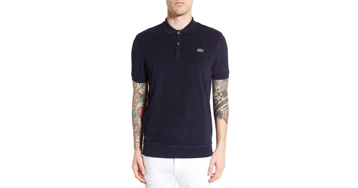 Lacoste terry cloth polo in black for men lyst for Terry cloth polo shirt