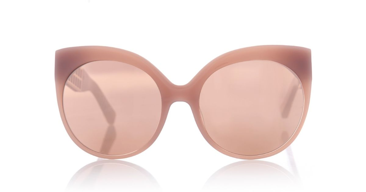 0dcd4542b3b Lyst - Linda Farrow Rounded Cat-Eye Caged Sunglasses in Pink