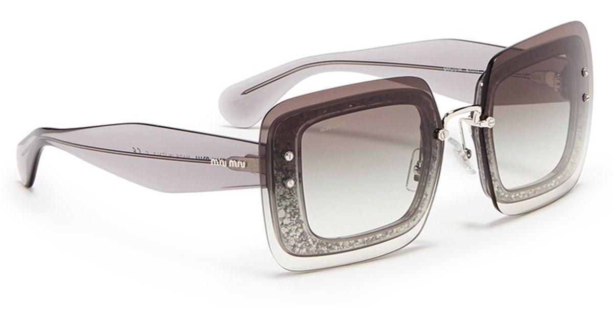 097880627e1d Miu Miu Oversize Lens Glitter Square Acetate Sunglasses in Gray - Lyst