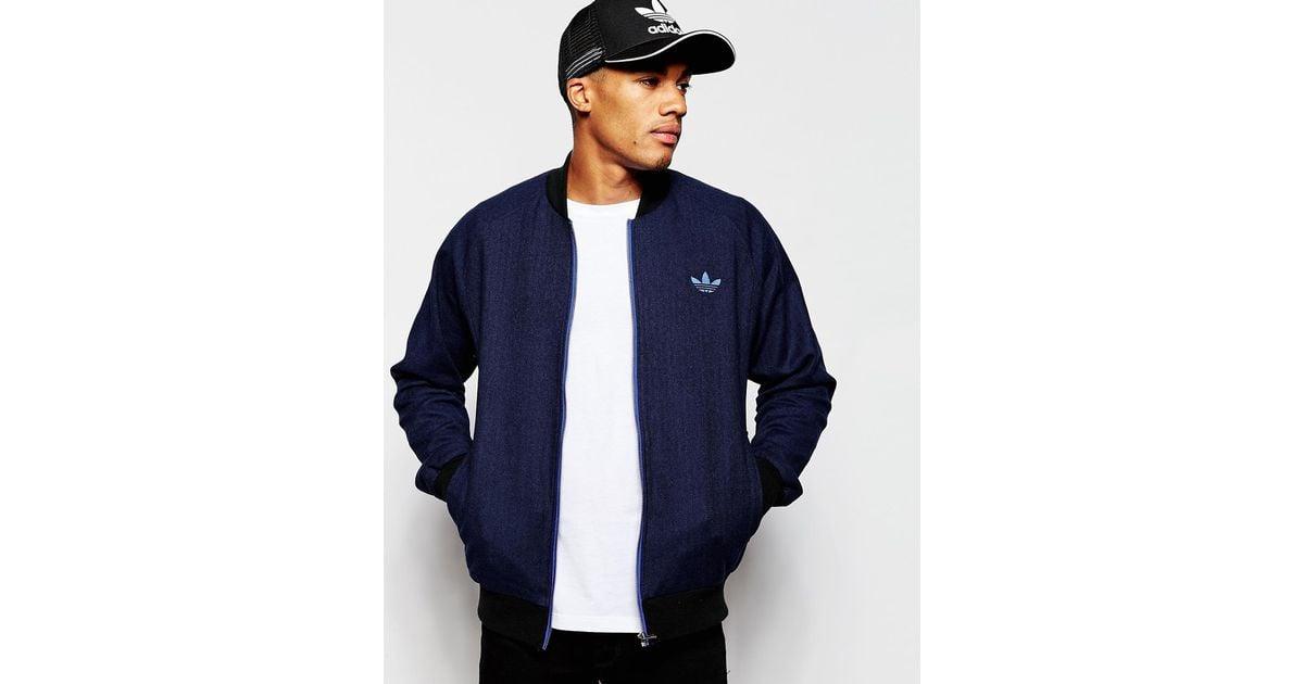 Men Jacket Tweed Originals Adidas Blue For Bomber Ab7640 rtshQd