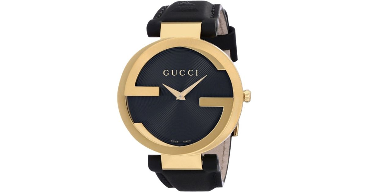3ede37d87eb Gucci Unisex Interlocking G Groove Dial Gold Plated Leather Strap Watch in  Black - Lyst