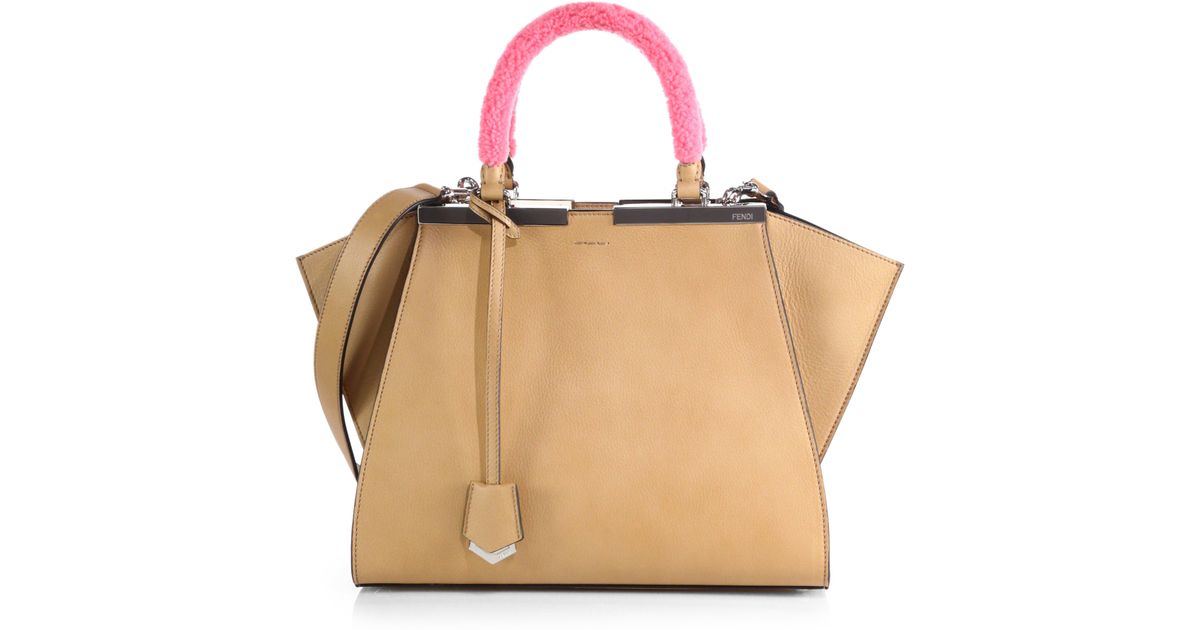 Lyst - Fendi Shearling-Handle Petite 3Jours Shopper in Natural db86529ab088a