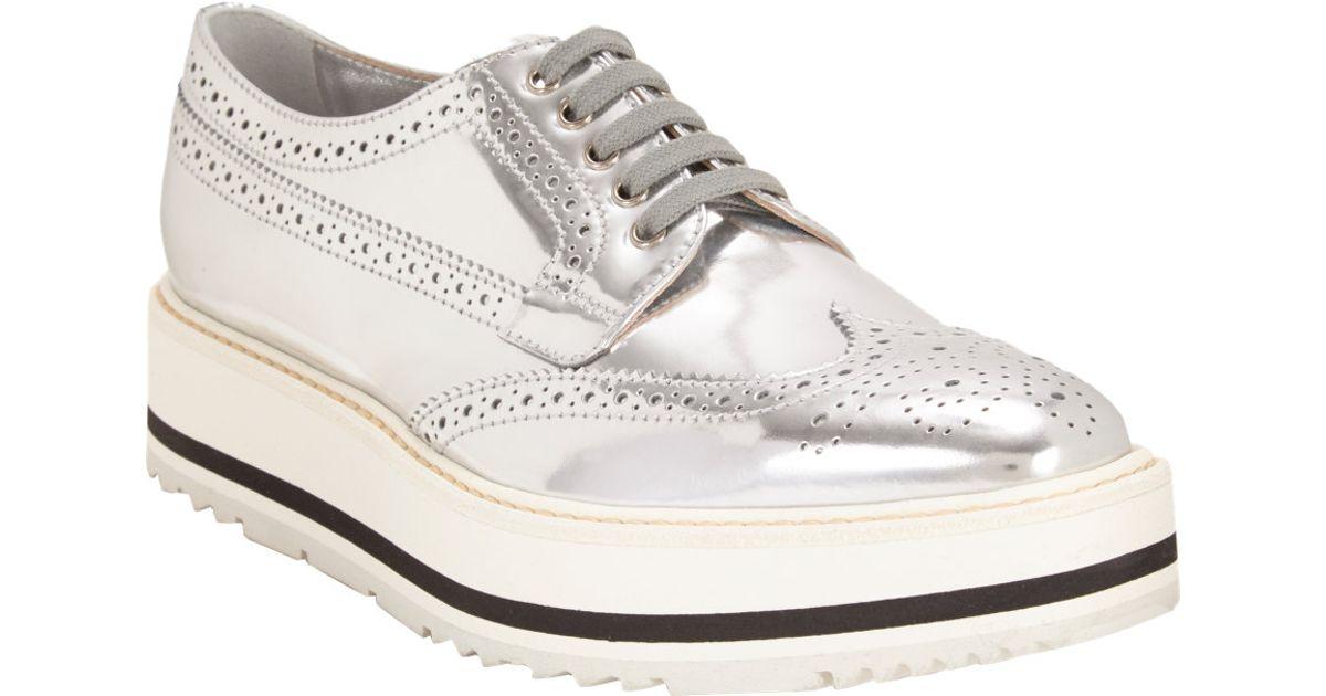 780a0e909930 Prada Wingtip Brogue Platform Sneakers in Metallic - Lyst