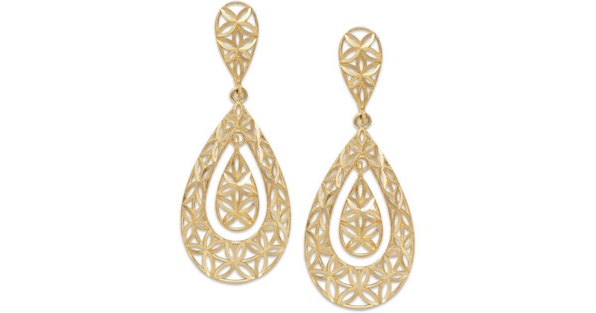 Lyst Macy s Diamond cut Teardrop Earrings In 10k Gold in Metallic
