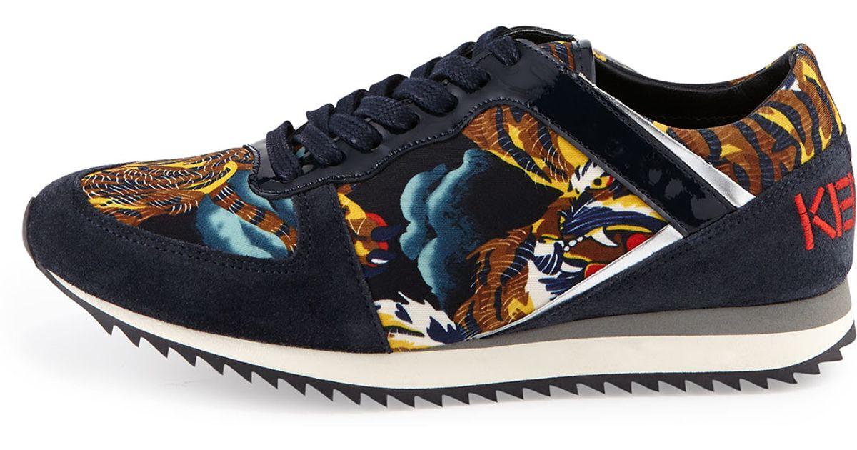 06b807be KENZO Multicolor Tiger-print Low-top Sneakers