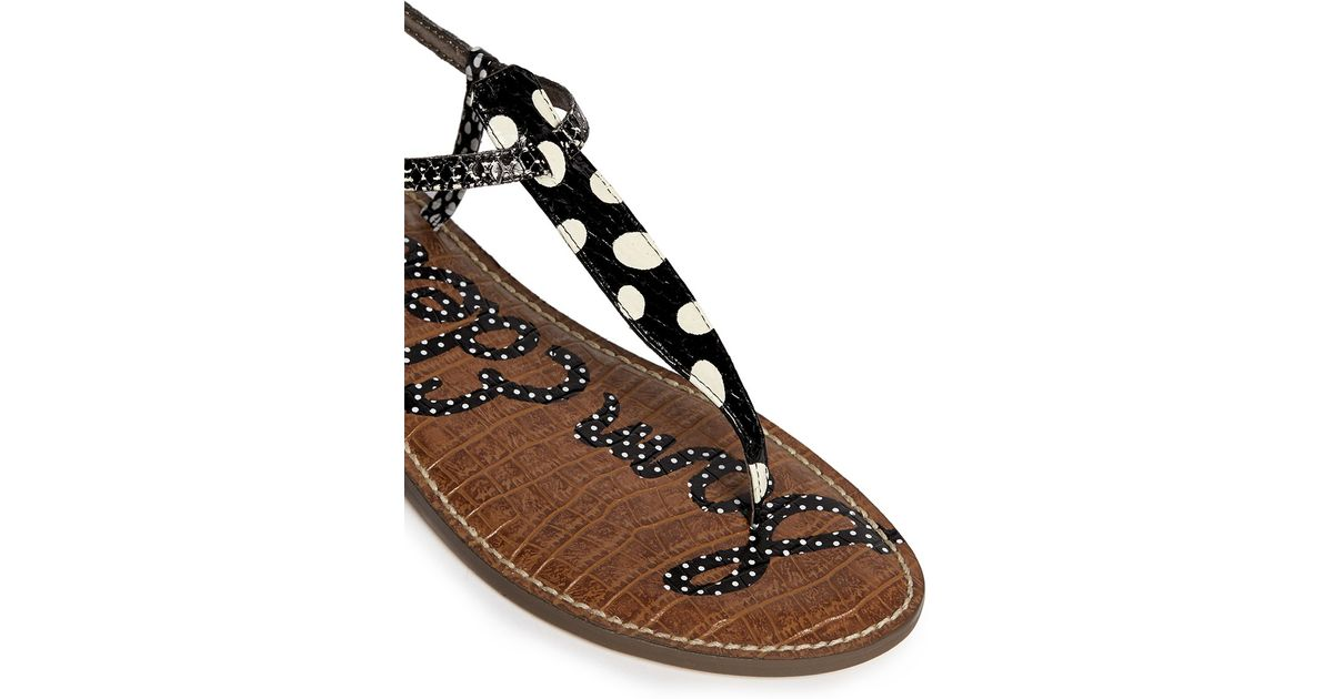 3b74e5a9aeb6d7 Sam Edelman  Gigi  Polka Dot Snake Effect Leather Sandals in Black - Lyst