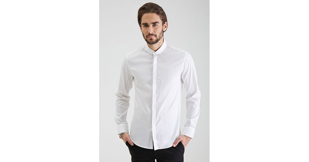 Lyst forever 21 round collar button down shirt in white for 3 button shirt collar