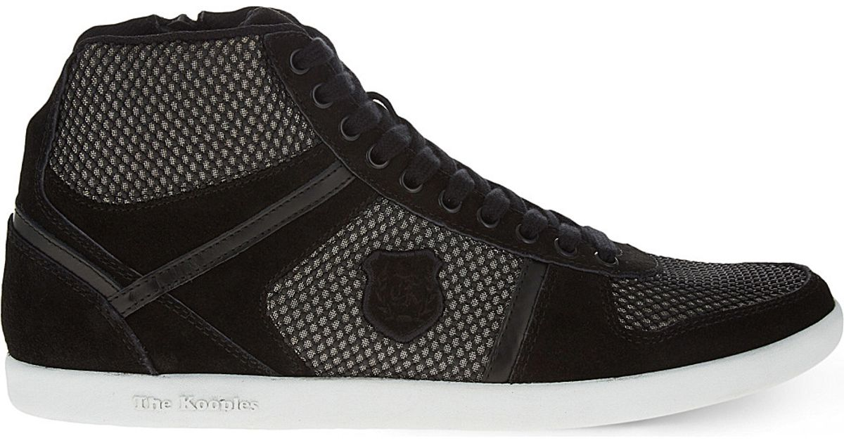 b63a9dfa82 Lyst - The Kooples Sport Fishnet Suede High-top Trainers in Black for Men