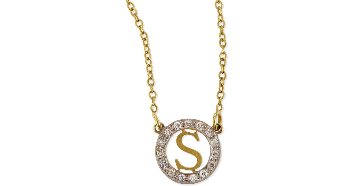 504e9032c3ea46 Lyst Kacey K Extra Small Round Initial Pendant Necklace With