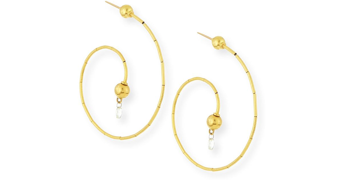 Gurhan Dew G-Spring 24k Gold Diamond Briolette Earrings EuYMiN