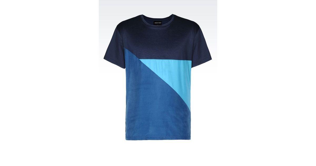 emporio armani jersey t shirt in blue for men dark blue. Black Bedroom Furniture Sets. Home Design Ideas