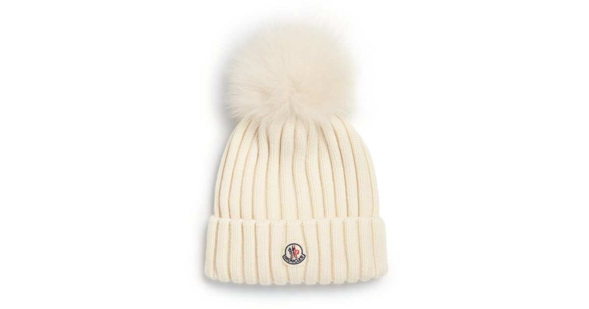 Lyst - Moncler Fur Pom-pom Ribbed Wool Hat in White 9fada90b1c4