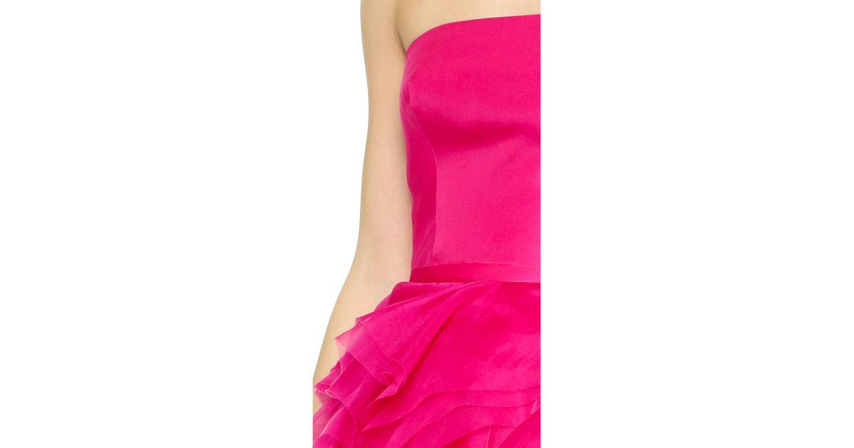 Lyst - Monique Lhuillier Organza Petal Cocktail Dress - Fuchsia in ...