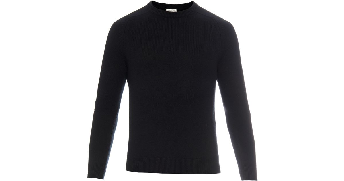 Lyst - Saint Laurent Leather Elbow-patch Cashmere Sweater in Black for Men