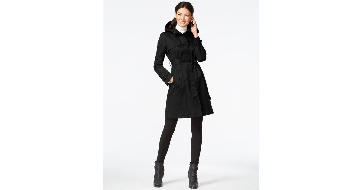 super service lovely design wide varieties DKNY Black Hooded Belted Trench Coat