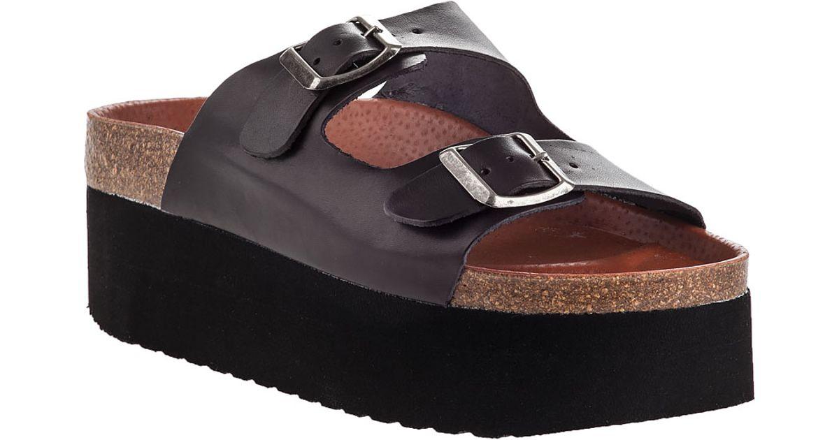834e45a5a01 Lyst - Sixtyseven Indigo Platform Sandal Black Leather in Black