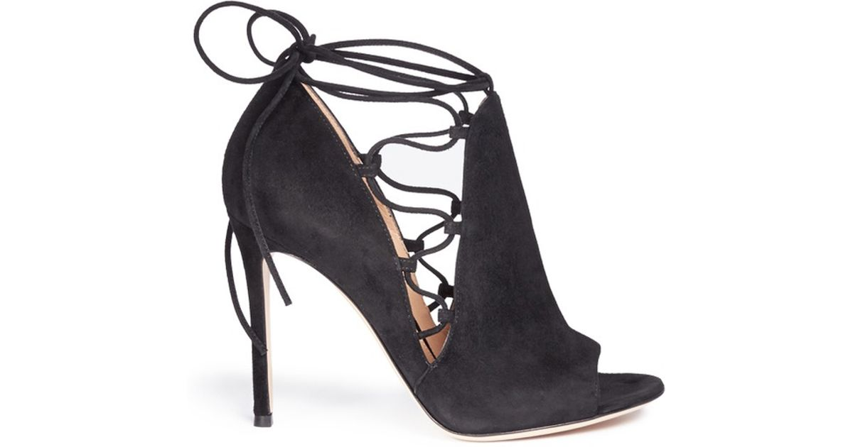 83fa598cc9d1 Gianvito Rossi  jennie  Cutout Lace-up Suede Sandal Boots in Black - Lyst