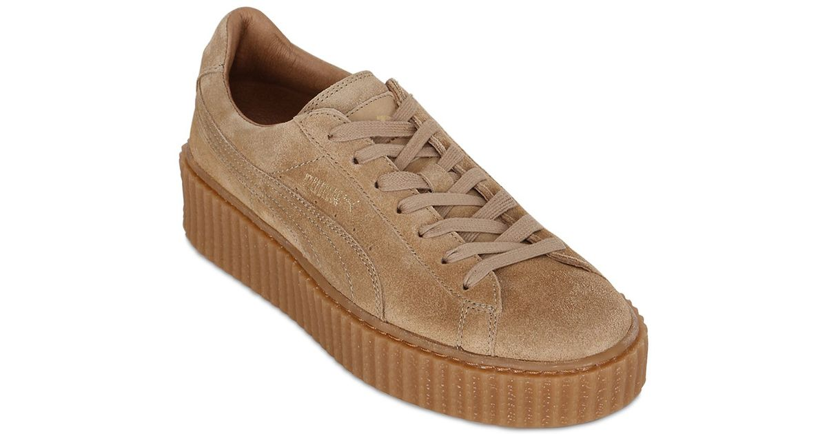 b2ecf2ab46d9 Lyst - Puma Select Rihanna Suede Creeper Sneakers in Natural
