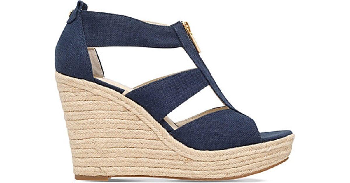 71d6988a8726 Lyst - MICHAEL Michael Kors Damita Denim Wedge Sandals in Blue
