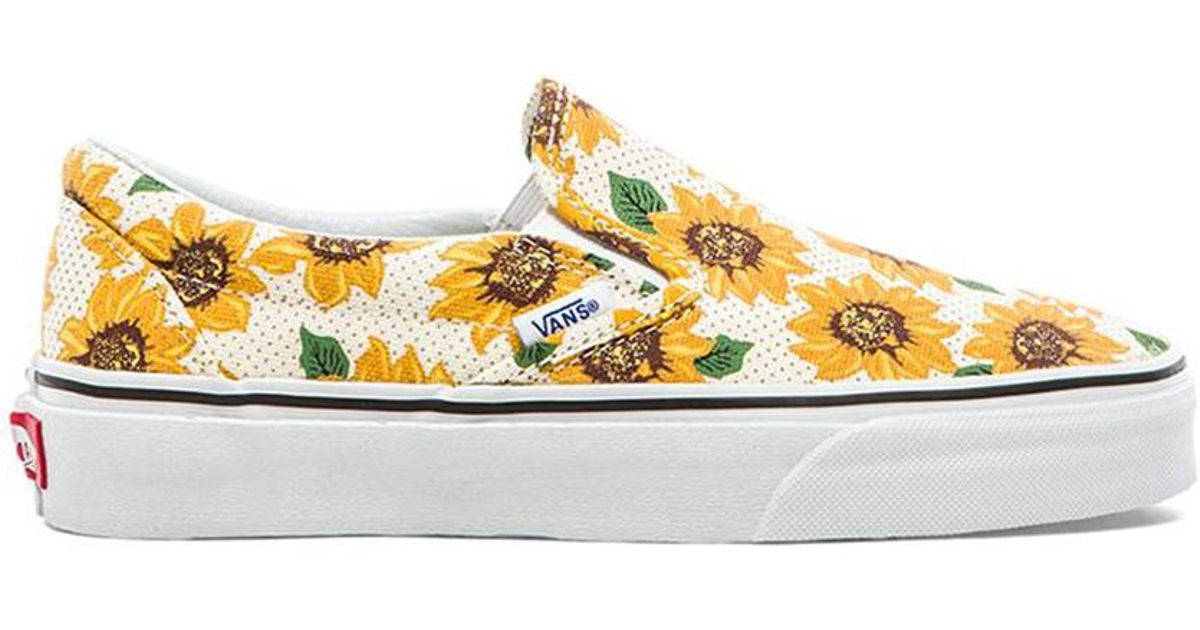 bf61eb4a41039a Lyst - Vans Classic Sunflower Slip On in Yellow