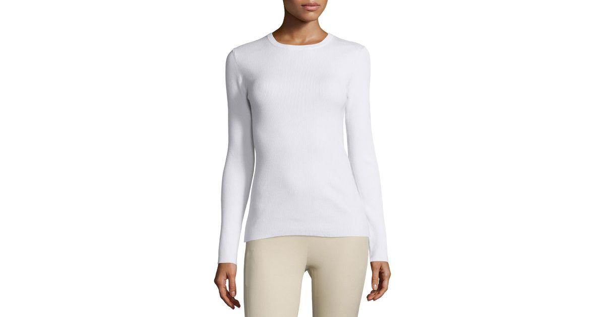 b1b81d450b389 Lyst - MICHAEL Michael Kors Long-sleeve Ribbed Crewneck Sweater in White